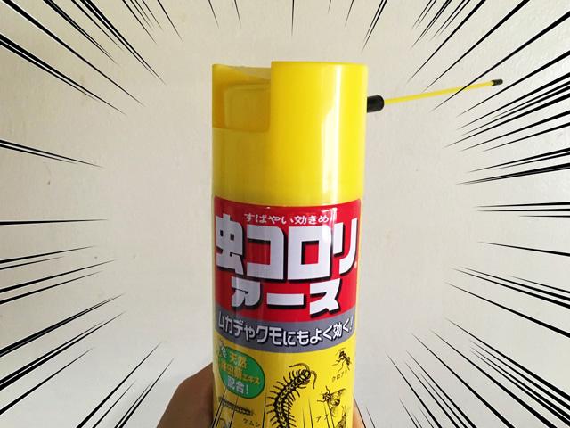 殺虫剤スプレー「虫コロリアース」を手に持っている写真