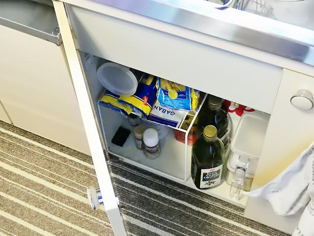 ゴキブリ駆除剤をキッチンの戸棚の中にも置く様子