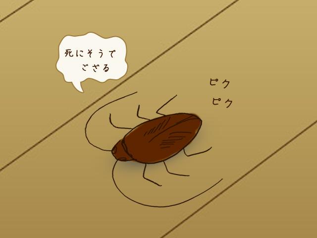 死にそうなゴキブリのイラストと「死にそうでござる」の文字