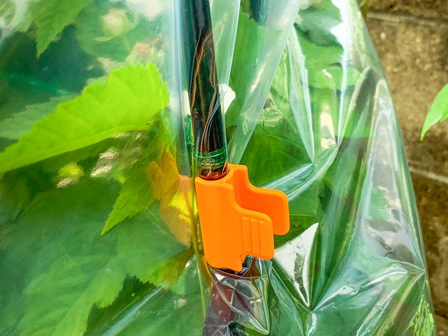 パッカーというプラスチックのクリップで雨よけシートを固定した様子